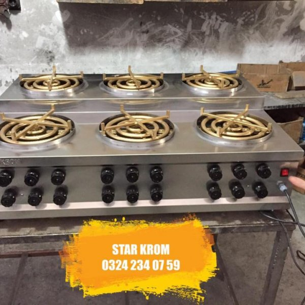 Künefe Cooking Stove Automatic Rotary 6 Pieces 4 Ported